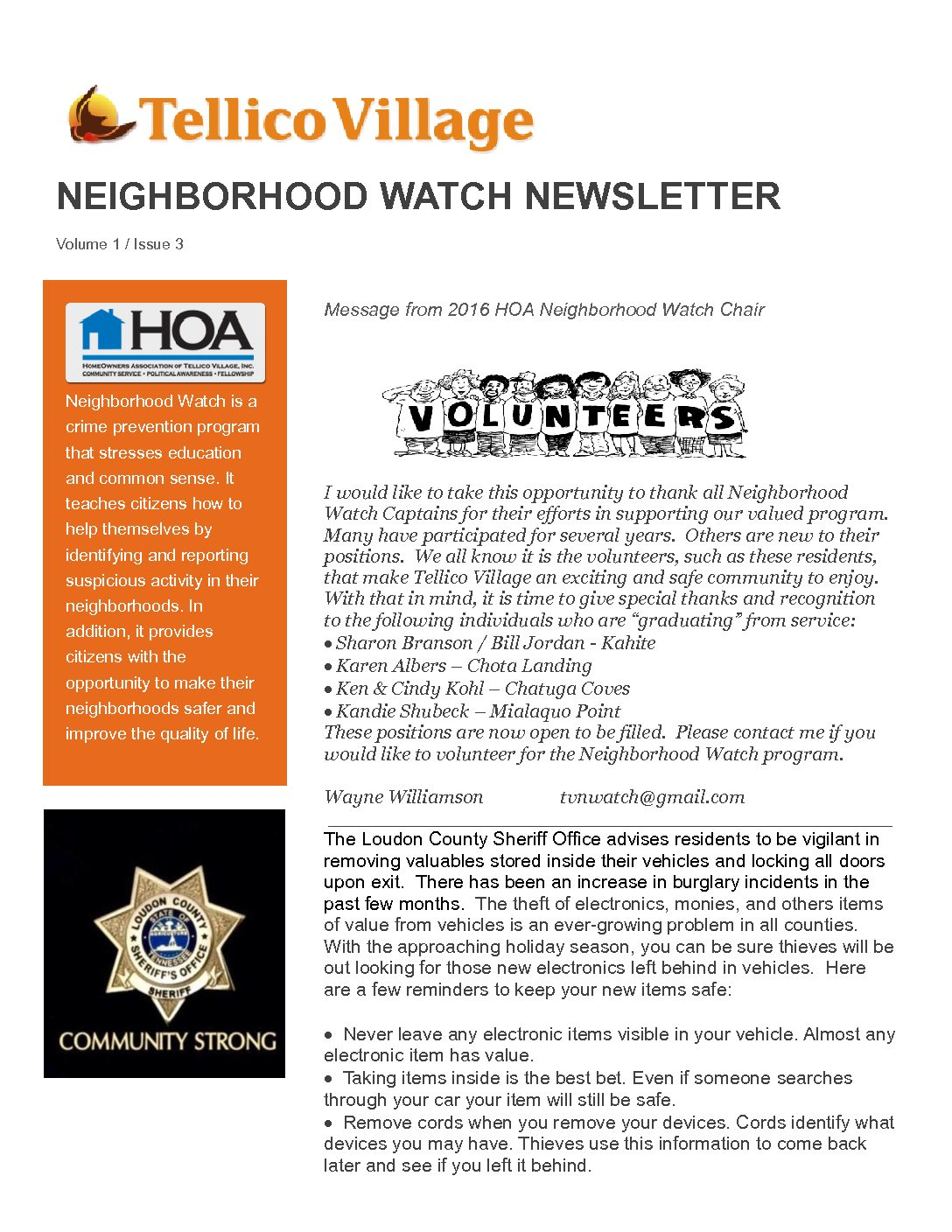 HOA Newsletter – Issue 2 – May, 2017 – Tellico Village HomeOwners ...